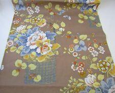 Vintage Woodco Cotton Fabric Lg Flower Baskets Floral Drapery Deep Beige 11+YDS