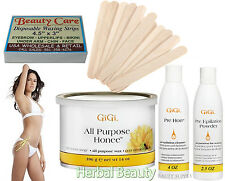 GiGi Waxing Kit All Purpose Honee Wax Pre Epilation strips Applicator Spatula