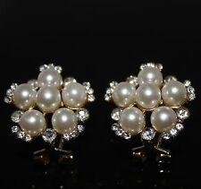 Pearl Flower Stud Earrings Silver Crystals Gold Tone Metal UK Shop