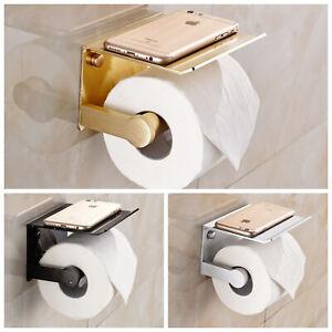 Toilet Paper Holder Roll Tissue Towel Rack Storage Shelf Aluminum Wall Mounted