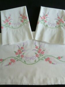 Vintage Cotton Embroidered Double Bed Sheet & 2 Pillowcases Dan River