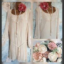 Antik batik cream vtg silk beaded 20s gatsby deco evening wedding dress 10 12