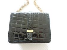 LOEWE black BAG CROCODILE with golden chain. With Cover. Good condition 25x17x8