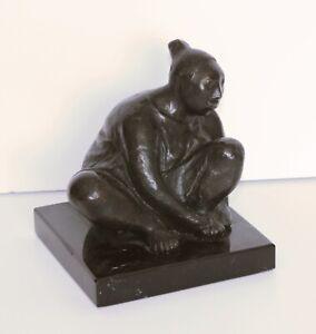 JORGE LUIS CUEVAS-Mexican Modernist-Original Signed Bronze-Seated Latina Figure