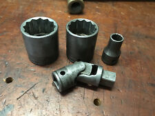 """Vintage Snap on 12 Point  1/2"""" drive Sockets 9/16"""", 1 3/16"""", 1 1/8"""" (4) Pieces"""