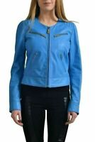 Just Cavalli Women's 100% Leather Blue Full Zip  Jacket US S IT 40