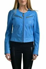 Just Cavalli Women's 100% Leather Blue Full Zip  Jacket US S IT 40