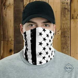 Distressed Black & White American US Flag Face Mask Face cover Neck Gaiter USA