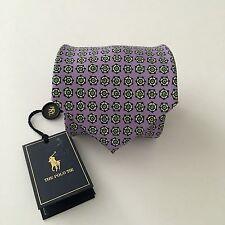 NWT Polo Ralph Lauren Tie 100% Silk Italy Purple Green White Geometric $125