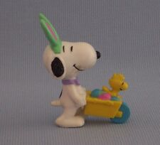 Snoopy Pink Bunny Ears Woodstock Wheelbarrow PVC Figure Snoopy Peanuts Gang