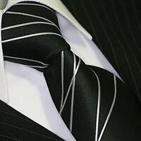 BINDER de LUXE KRAWATTE tie slips cravatte Dassen Krawatten 414 Schwarz Silber