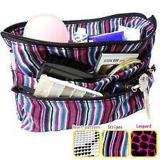 Medium Reversible Organizer Tidy Pouch Travel Cosmetic Insert Makeup Bag Stripes