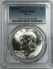 1976 S Eisenhower Ike Silver Dollar PCGS MS-68  FREE SHIPPING  FREE RETURNS.READ