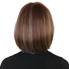 Short Bob Hair Wigs 12'' Straight Side Parting Synthetic Cosplay Daily Party Wig