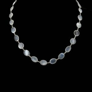"""Antique Moonstone Sterling Silver 15"""" Full Riviere Necklace"""