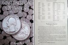 1965-1987  WASHINGTON QUARTERS  4-Page  H.E. HARRIS  FOLDER, Vol.1, NO Coins