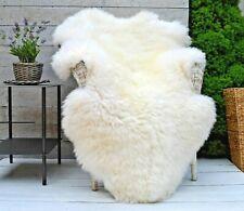 Luxury White & Bright Ivory Sheepskin Rug Throw Blanket Pure Wool Large Sizes