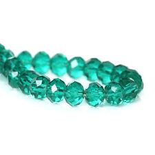 STRAND MALACHITE GREEN RONDELLE CRYSTAL GLASS BEADS 4mm~Bracelet~Charms (63E)