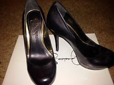 Preowned Jessica Simpson Given Black Leather Platform Pumps Size 6M