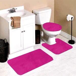 3PC BATHROOM CONTOUR MAT TOILET LID COVER SET SOLID BATHMATS MANY COLOR & STYLES
