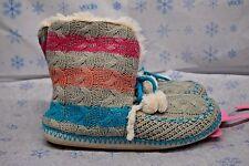 Jenni Womens Boots Booties Knit Slippers Blue Gray XL 11-12