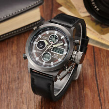 OHSEN Schwarz Militär Analog Digital LED Licht Herren Quarz Leder Armband Uhr