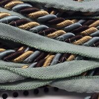 "Lip Cord 3/8"" Blue Green Brown Tan Pillows Crafts Upholstery Trim 3 Yard 108"""