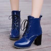 Women round toe Patent Leather Shiny Lace Up block High Heels Ankle Boots Size