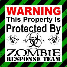 Warning  protected by Zombie response Team ,car,door ,Lap top,window Sticker