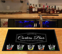 Personalised bar runner Shots glasses party & Cocktail club Beer label Bar Mat