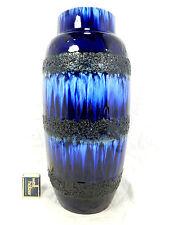 Blue , black & white Fat Lava glaze 70´s design Scheurich  Keramik Vase 38 cm