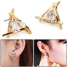 Crystal Rhinestone Ear Stud Earrings 2pcs High Quality Gold Fashionable Triangle