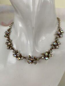 Vintage Aurora Borealis Necklace Sparkly Gold Tone Necklace Multi Coloured Bead