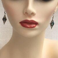 Elegant Art Deco Sterling Silver Foiled cabochon Drop EARRINGS