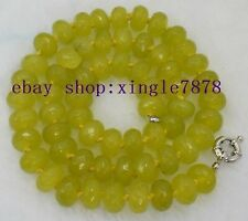 """Natural Faceted 6x10mm Green Peridot Beads Necklace 20"""" AAA"""
