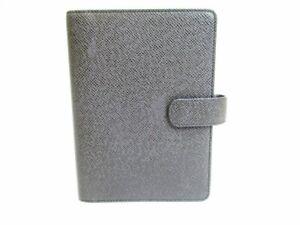 Auth LOUIS VUITTON Taiga Leather Ardoise Black Document Holders Agenda MM #7235