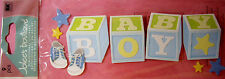 NEW  9 pc BABY BOY  Title Baby Toy Blocks Shoes Blue  3D Title Stickers JOLEE'S