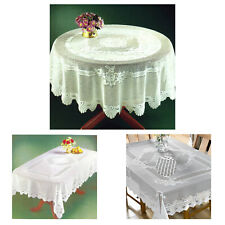 """Cream Heavy Lace Rose Scalloped Stain Release 60"""" - 150cm Round Table Cloth"""