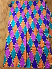 "ST. JOHN silk colorful  Oblong scarf Harlequin Pattern 14"" X 41"""