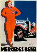 Frau In Rot 1928 Classic German Car Advert Woman In Red Vintage Poster Print
