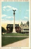 Soldiers Monument Delaware Ave and Broome Street Wilmington DE 1920 Postcard