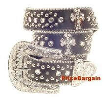 Western Rhinestone Crystal Bling Black Cross Concho Leather Belt S *