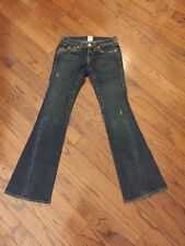 True Religion Joey Women Jeans Twisted Seams Flare Flap Pocket Blue  Sz 27/32