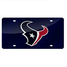 Houston Texans Blue Mirrored Laser Cut License Plate Laser Tag