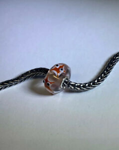 Authentic Trollbeads  Reddish Brown Starfish Unique Bead  CC On  Clear  Base !!