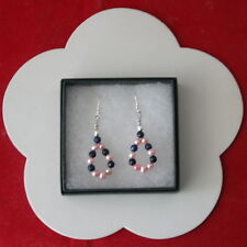 Beautiful Earrings With Blue Sapphire And Pearls 4 Cm.Long + 925 Silver Hooks