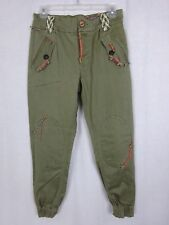 Mr & Mrs Furs Pants ~Military Green ~Woven Accents Knee Patches Zipper Cuffs ~ M