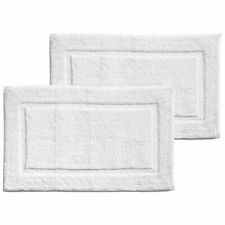 """mDesign Soft Cotton Spa Mat Rug for Bathroom - 34"""" x 21"""", 2 Pack - White"""