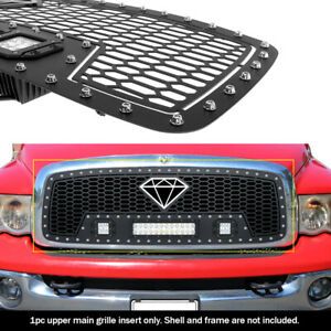 APS Compatible with 2006-2008 Dodge Ram Main Upper Stainless Steel Black 8x6 Horizontal Billet Grille Insert N19-J91756D