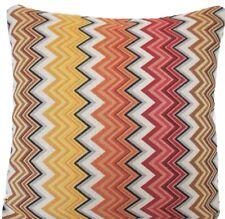 "Zig Zag Woven Cushion Cover Oriental Orange Red Brown 16"" Square Designers B"